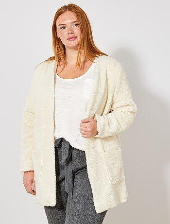 Dames Size+ - Lang jasje met sherpa effect - Kiabi