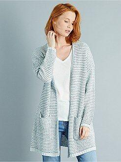 Vest - Lang vest van gemêleerd tricot