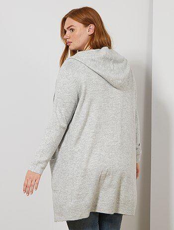 Lang vest van tricot met pailletten met een capuchon - Kiabi
