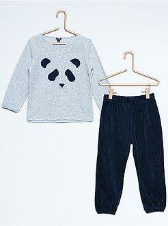 Meisjeskleding 3-12 jaar Lange, fluwelen pyjama met pandaprint