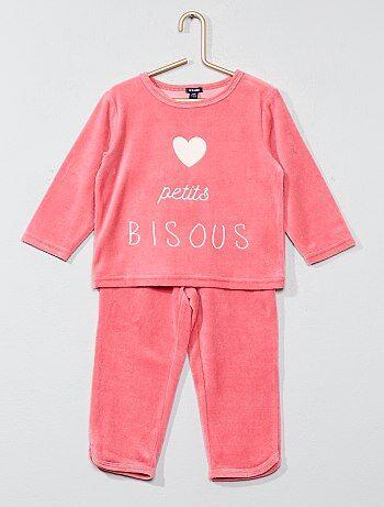 Meisje 0-36 maanden - Lange fluwelen pyjama - Kiabi