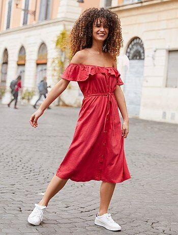 fd2eee5b938b5e Damesmode maat 34-48 - Lange jurk met bardothals - Kiabi