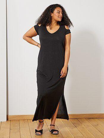 b1b5efa3074552 Dames Size+ - Lange jurk met blote schouders - Kiabi