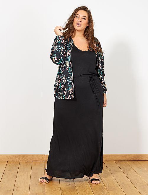 f1941e149de14d Lange jurk met een split Dames size+ - zwart - Kiabi - 20