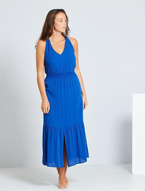 Lange jurk met gesmokte taille                                                     BLAUW