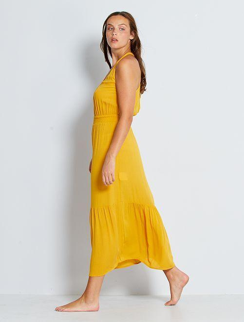Lange jurk met gesmokte taille                                                     WIT
