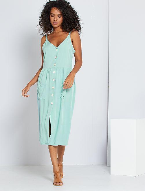 Lange jurk met knopen                     grijs groen