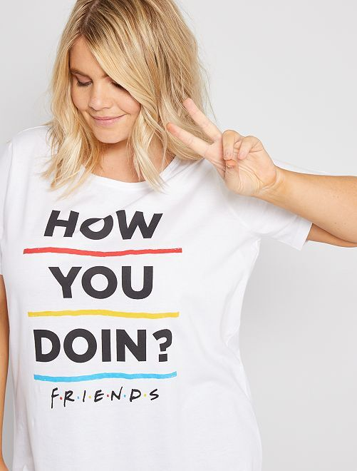 Lange pyjama 'Friends'                             wit / zwart