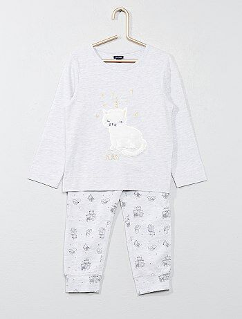 Lange pyjama met een kattenprint - Kiabi