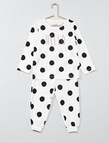 Lange pyjama met opschrift 'hello' - Kiabi