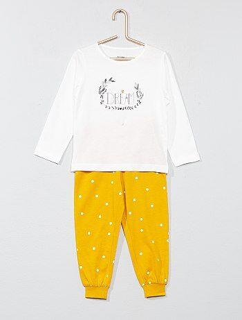 Lange pyjama met opschrift 'love' - Kiabi