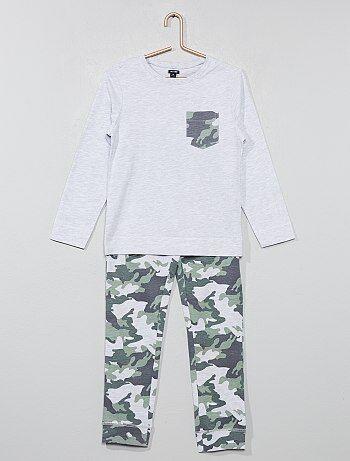 Lange pyjama van tricot met print - Kiabi