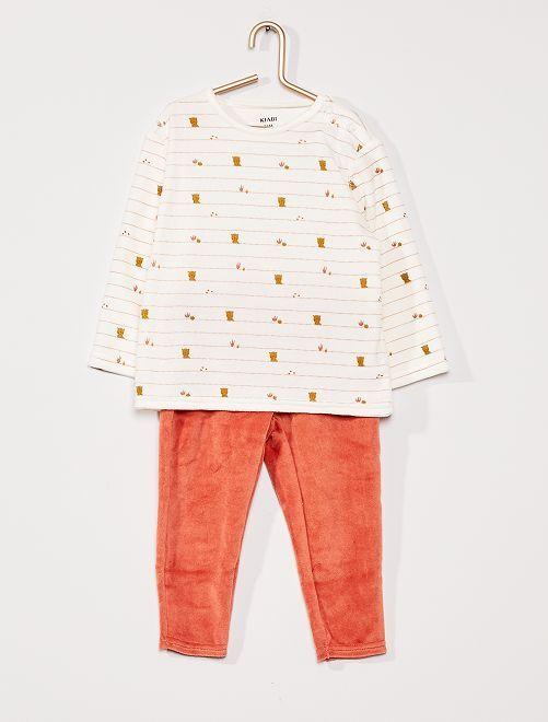 Lange pyjama van velours                     geruit