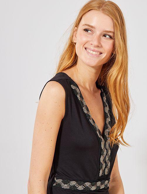 Lange stretch jurk met glimmers                                                                 zwart Dameskleding