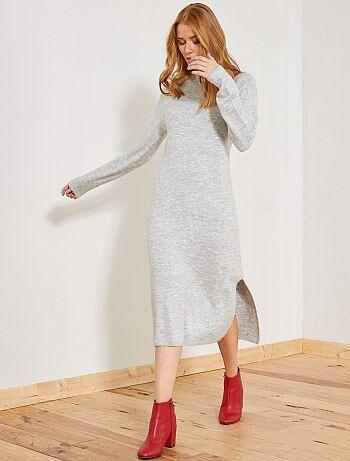 Lange trui-jurk van tricot - Kiabi