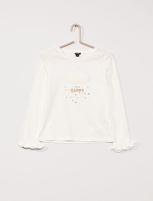 Leuk T-shirt met lange mouwen                                 sneeuw wit