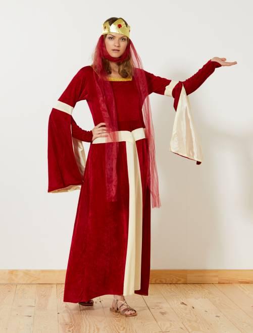 Middeleeuws prinsessenkostuum                             rood Dames