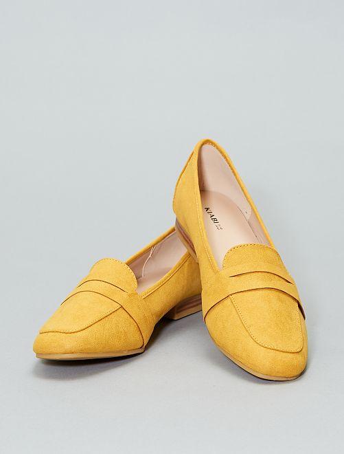 Mocassins van suèdine                                                                 geel Dameskleding