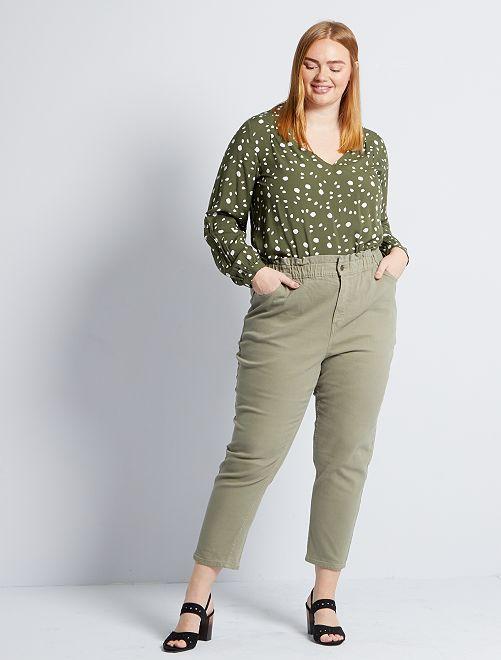 Mom broek met hoge taille                                         khaki bruin