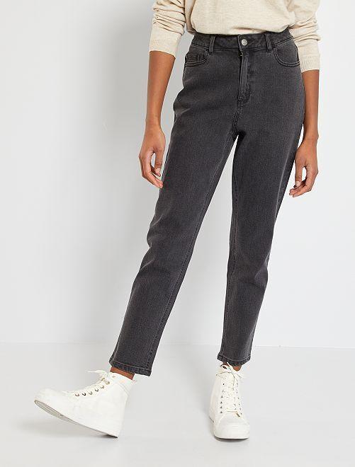 Mom jeans met extra hoge taille                                         ZWART