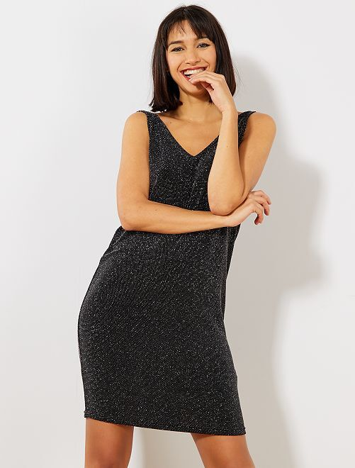 Mouwloze jurk van tricot met lovertjes                                             grijs Dameskleding