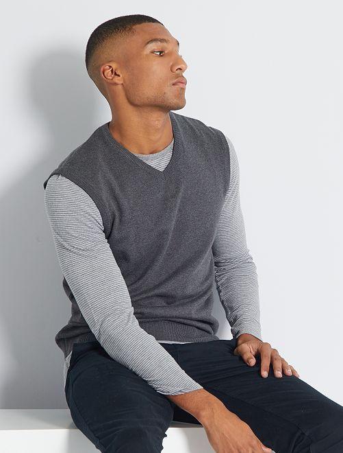 Mouwloze trui met V-hals 'Ecodesign'                                                     GRIJS