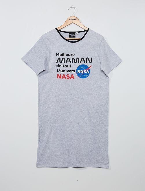Nachthemd met 'Nasa'-print                             grijs gemêleerd