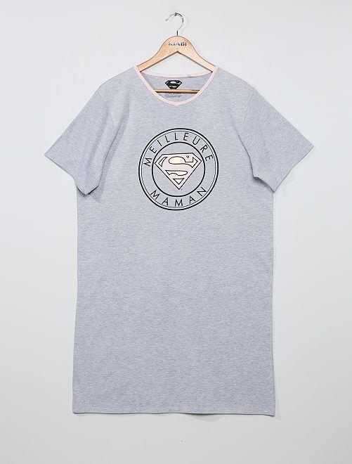Nachthemd 'Supergirl'                             grijs