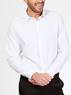 Overhemd - Nauwsluitend katoenen overhemd met een geweven motief
