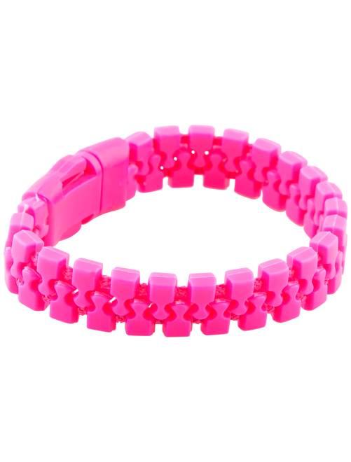 Neonkleurige armband met ritseffect                             wit