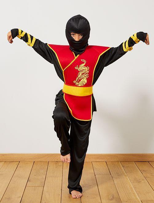 Ninja-verkleedkostuum                             zwart / rood Kinderen