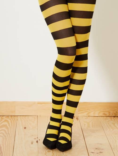 Ondoorschijnende panty's met strepen                                                                 zwart / geel