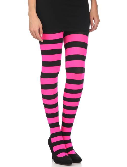 Ondoorschijnende panty's met strepen                                                                 zwart / roze Accessoires
