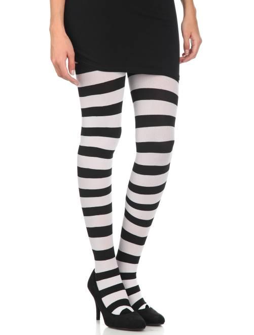 Ondoorschijnende panty's met strepen                                                                 zwart / wit