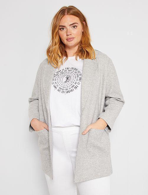 Ongevoerde jas                                         grijs gemêleerd