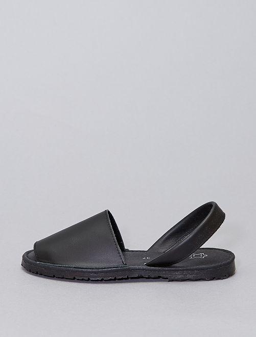 Open leren sandalen                             zwart