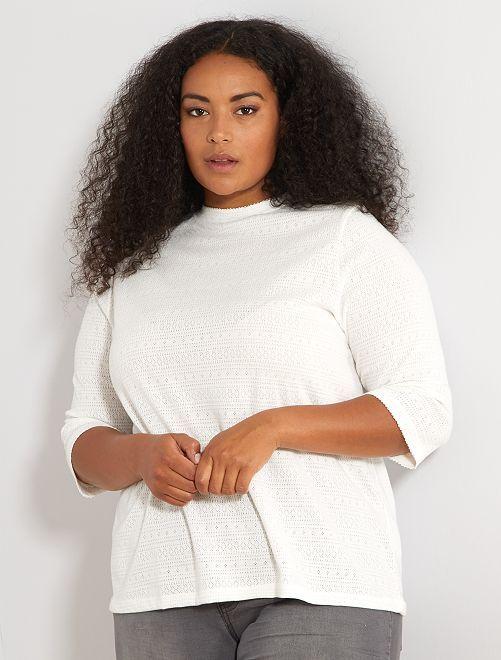 Opengewerkt T-shirt                             sneeuw wit