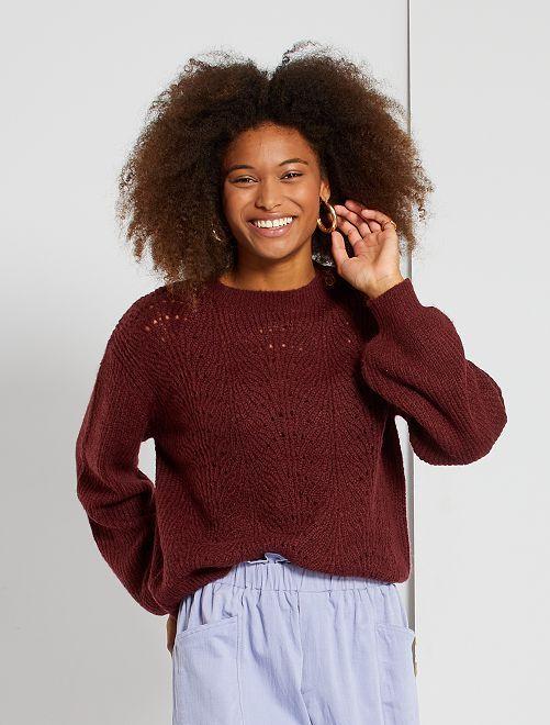 Opengewerkte trui van tricot                                         ROOD