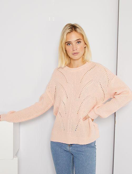 Opengewerkte trui van tricot                                                                 ROSE