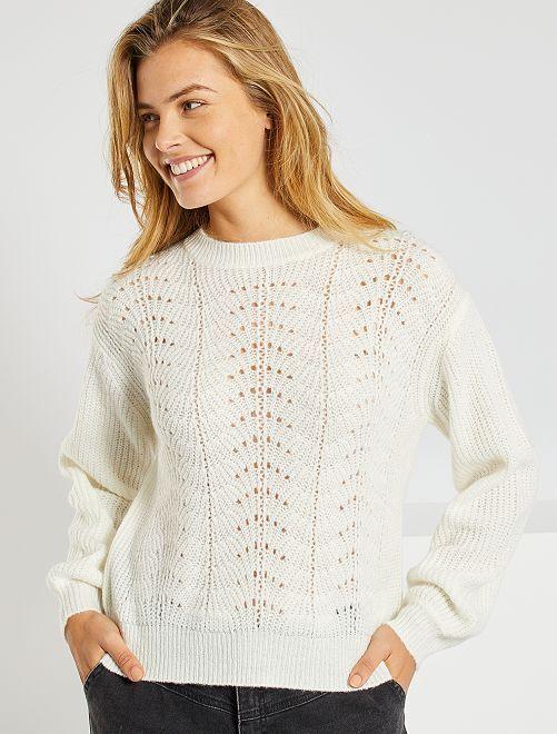 Opengewerkte trui van tricot                                         sneeuw wit