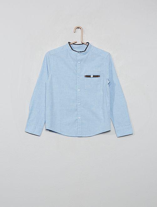 Overhemd met een kraag in mao-stijl                             BLAUW