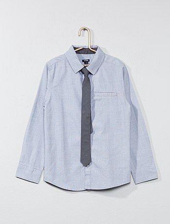 Overhemd met lange mouwen en een stropdas - Kiabi