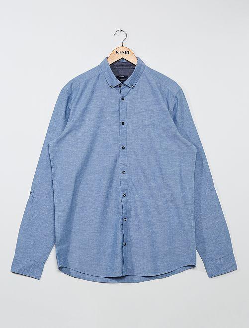 Overhemd met tropische print +1,90 m                                         chambray blauw