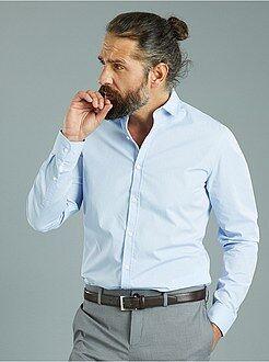 Overhemd - Overhemd van katoen met een micro motief, nauwsluitend model