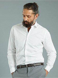 Overhemd van katoen met een micro motief, nauwsluitend model