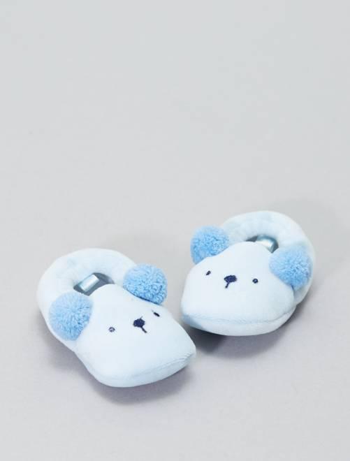 Pantoffels met dierenkop                                         blauw Jongens babykleding