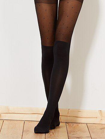 Panty van 'Dim' met hoge laarzen-effect en stippen - Kiabi
