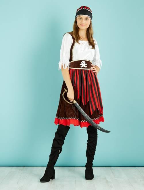 Piraat verkleedkostuum                             zwart / rood Dames