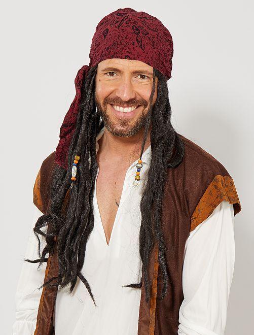 Piratenpruik                             zwart Heren