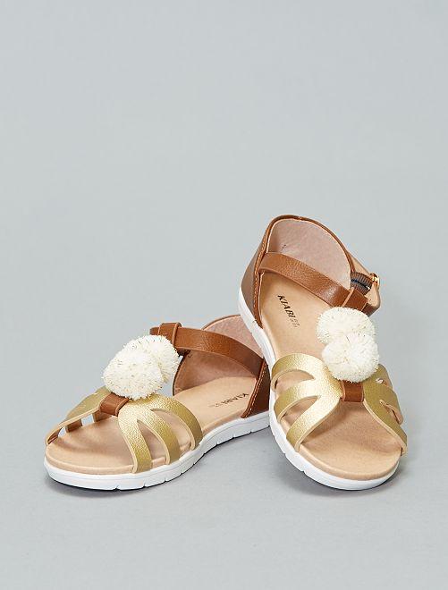 Platte goudkleurige sandalen                             BRUIN Kinderkleding meisjes